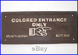 COLORED ENTRANCE ONLY BLACK AMERICANA CAST IRON PLAQUE