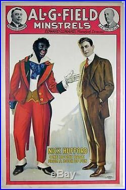 Ca1905 BLACK AMERICANA / BLACK FACE MINSTREL SHOW ADVERTISING SIGN POSTER