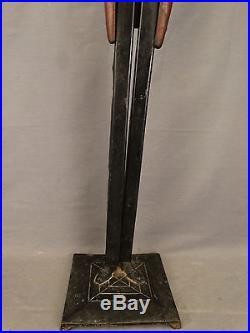 Ca1920 Antique BLACK AMERICANA Cast Iron Statue SMOKING STAND Man BUTLER Ashtray