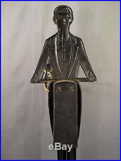 Ca1920 Antique BLACK AMERICANA Cast Iron Statue SMOKING STAND Old BUTLER Ashtray