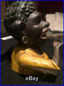 Cast Iron Black Americana Dinah Pat 1890 Lady Je Stevens Mechanical Coin Bank