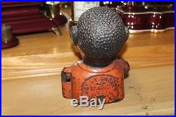 Cast Iron Jolly N Mechanical Penny Bank Black Americana by Shepard Hardware Co