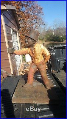 Cast Iron Lawn Jockey Hitching post. Top Hat version