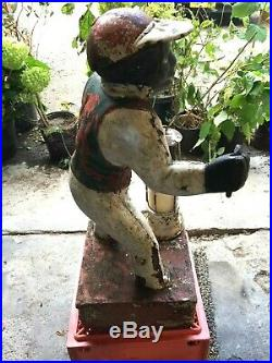 Cast Iron Lawn Jockey With Kerosene Lantern