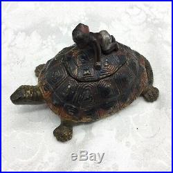 Cast Iron Turtle Inkwell Antique Boy Hand Painted 328 Black Americana Metal