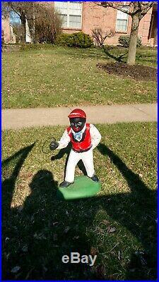 Cement ANTIQUE VINTAGE Black Americana Lawn Jockey Hitching Post Fence Jocko