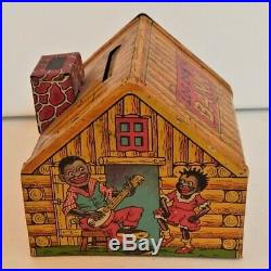 Chein LOG CABIN litho tin bank RARE Black Americana toy from 1930s