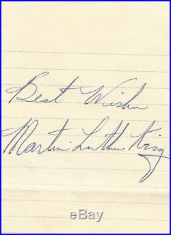 Civil Rights Leader Dr. Martin Luther King Jr. His Autograph