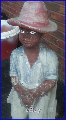 Classic Original Black Americana Concrete Fishing Boy Statue Nearly 3-feet Tall