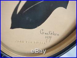 Collectible Art Silhouette Portrait''Gretchen, 1939'' by Scissor Artist John Va