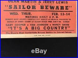 Colored Black Americana Milford Theatre Delaware Movie Poster Segregation 1951