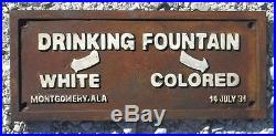Colored Drinking Fountain Black Americana Cast Iron Segregation Sign Free Ship