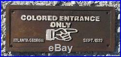 Colored Entrance Only Black Americana Cast Iron Segregation Sign Free Shipping