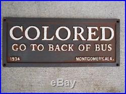 Colored Go To Back Of Bus Black Americana Cast Iron Segregation Sign Plaque