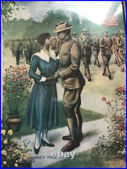 Colored Man Is No Slacker E. G. Renesch 1918 Framed Early Black Military 0/403
