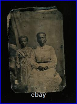 Cute little african american girl & grandmother 1800s vtg black americana photo
