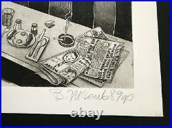 DINER Bruce McCombs ETCHING Pencil Signed LIMITED EDITION Rare COLLECTABLE