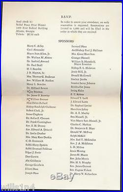 Dr. Martin Luther King 1965 Nobel Prize Dinner Program & Invitation