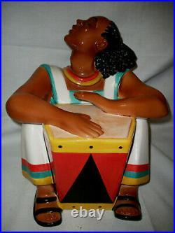 Drummer Man Cookie Jar Black Americana Htf Jar
