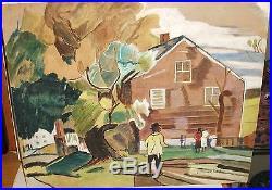 E. Trudeau African American Landscape Vintage Original Watercolor Folk Painting
