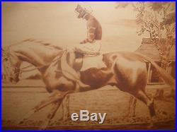 EDWARD NED KING 1886-1962 Black Americana etching jockey horse racing pencil