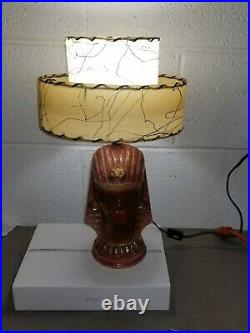 EGYPTIAN Mid Century BLACK AMERICANA Pottery LAMP 2 Tier FIBERGLASS Shade RETRO