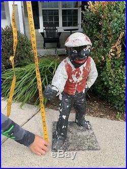 ESTATE FIND Aluminum ANTIQUE VINTAGE JOCKO Black Americana Lawn Jockey