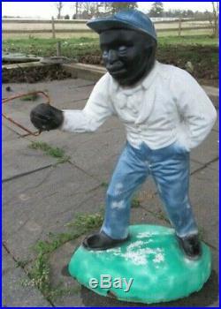 ESTATE FIND Cement ANTIQUE VINTAGE JOCKO Black Americana Lawn Jockey
