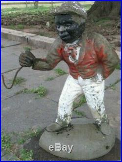 ESTATE FIND Cement ORIGINAL ANTIQUE VINTAGE JOCKO Black Americana Lawn Jockey