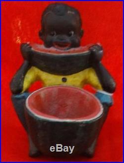 Early 20th Century Cast Iron Figure of Boy & Watermelon Black Americana