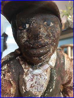 Early Vintage Cast Iron LAWN JOCKEY Statue Hitching Post Black Americana