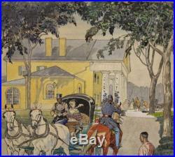 Edward Penfield Watercolor Illustration Painting, Robert E Lee Arlington House