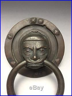 Exceptional Mid 1800s Black Americana Bronze Hammered Door Knocker