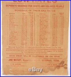Extremely Rare 1905 Louisville KY Cairo Ill Railroad Ad WHITES & COLORED Black