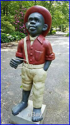 Extremely Rare Huge 43 Vintage Sambo style Cast Iron Lawn Jockey