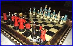 Extremely Rare Vintage Black Americana 30 Black &White Hand Painted Chess Pieces