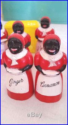 F&F Mold Aunt Jemima Vintage Cookie Jar, 6 Spice Jars, S/P Black Americana Rare