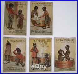 Fantastic Set of (5) Victorian Trade Cards Fairbanks Soap with Black Americana