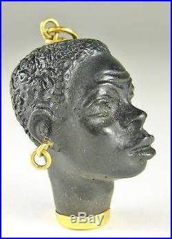 Fine Vtg Italian 18k Gold Corletto Carved Ebony Blackamoor Necklace Pendant