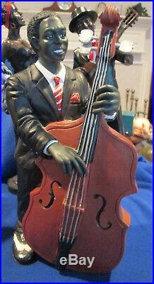 Five Piece 16 1/2 High Sculpted Resin Black Americana Jazz Singers & Musicians