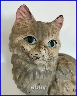Genuine Antique Cast Iron Hubley Sitting Persian Cat Doorstop Marked Original
