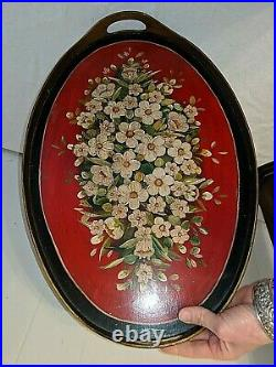 Gorgeous Christmas Vtg Antique Hand Painted Red Green White Wood Tole Tray