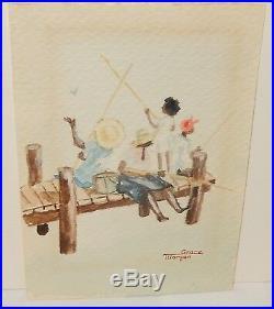 Grace Morgan African American Family Fishing Small Original Watercolor Painting