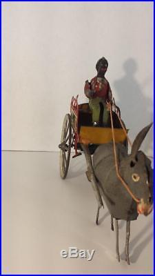 Gunthermann mule pulling cart black driver wind up tin original gunterman donkey