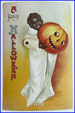 HALLOWEEN antique MECHANICAL POSTCARD by CLAPSADDLE SERIES 1236 BLACK AMERICANA