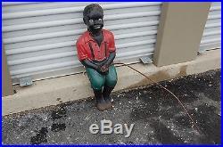 HEAVY LARGE CAST IRON, BLACK AMERICANA, BLACK BOY FISHING with METAL FISHING POLE