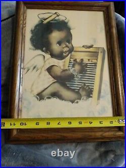 HTF Rare African Dark Skin AMERICANA WASHBOARD BLUES ANGEL ART FRAMED DOLL XMA