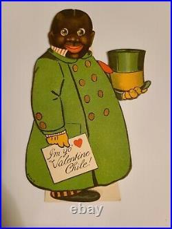 Handsome African American Antique Valentine Card I'm Yo Valentine Chile Rare
