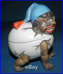 Htf Small German Black Americana Schafer And Vater Bisque Baby Egg Figurine