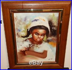 Hunter Sunday Dress African American Girl Original Oil On Canvas Painting